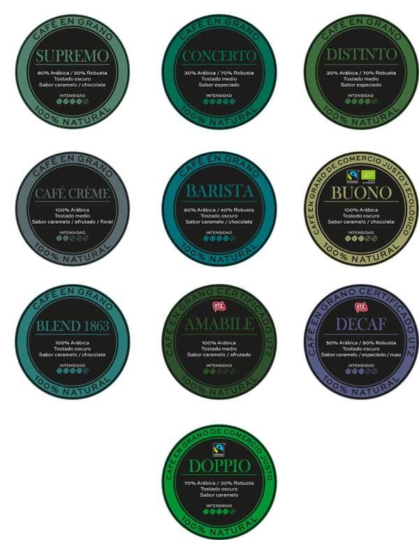 Adhesivos circulares de variedades Pelican Rouge